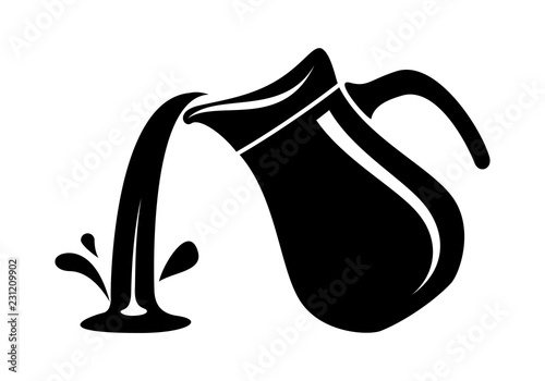 Canvastavla Jug pour out milk or water canister. Simple logo.
