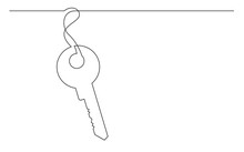 Continuous Line Drawing Of Key