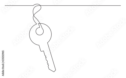 Fotomural continuous line drawing of key