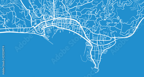 Urban vector city map of Cannes, France Wallpaper Mural