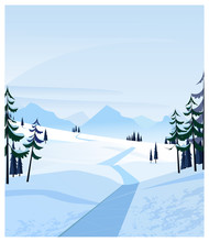 Country Scene With Snowy Road And Fir-trees. Winter Road Or Path Vector Illustration. Winter Concept. For Websites, Posters Or Banners.