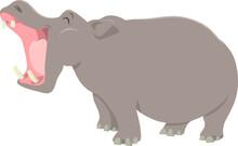 Funny Cartoon Hippopotamus Ani...