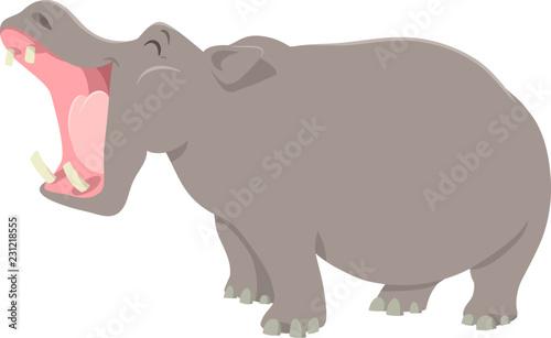 Photographie funny cartoon hippopotamus animal character
