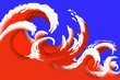 canvas print picture - Red Wave design background
