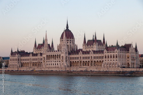 Foto op Aluminium Boedapest BUDAPEST, HUNGARY - OCTOBER 06, 2018: Beautiful View of the Building of Parliament of Hungary.