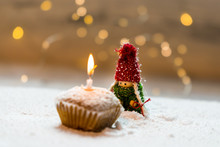 Cupcake With Candle On Winter ...