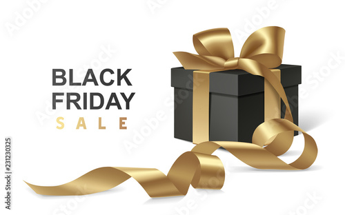 Black friday sale design template. Decorative black gift box with golden bow and long ribbon isolated on white background. Vector illustration