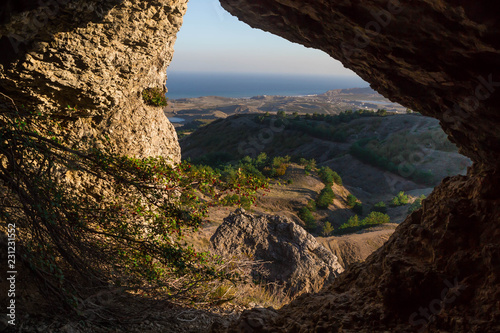 Foto op Canvas Zwart Mountain landscape