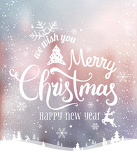 Christmas And New Year Typographical On Background With Winter Landscape With Snowflakes, Light, Stars. Xmas Card.