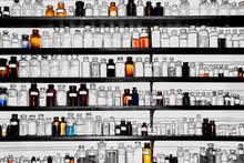 Old Pharmacy Bottles On Shelves
