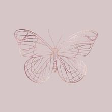 Buttefly. Rose Gold Texture. Elegant Illustration