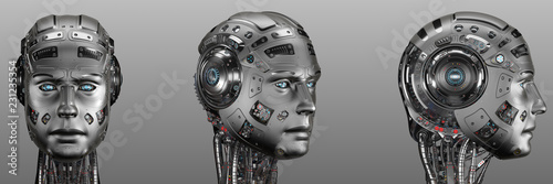 Foto Futuristic robot head from different angles