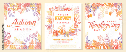 Obraz Autumn seasonals postes with autumn leaves and floral elements in fall colors.Autumn greetings cards perfect for prints,flyers,banners,invitations,promotions and more.Vector autumn illustration.. - fototapety do salonu