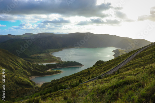 Papiers peints Alpes Amazing lagoon surrounded by mountains. ancient crater of a volcano. Fire Lagoon Azores island Portugal