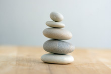 Stone Cairn On Striped Grey White Background, Five Stones Tower, Simple Poise Stones, Simplicity Harmony And Balance, Rock Zen