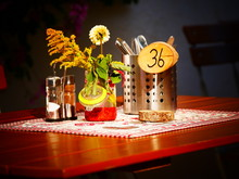 Image Of A Table Setting In A German Bavarian Beergarden