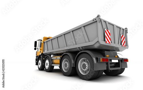 Rear view of the tipper isolated on white background  Perspective