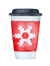 Cosy Holiday Cup With Black Lid And Red Sleeve, Decorated With Cute Snowflake Drawing. One Single Object, Front View. Hand Drawn Water Color Sketchy Painting On White, Isolated Element For Design.