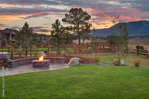 Amazing Backyard with Fire Pit Wallpaper Mural