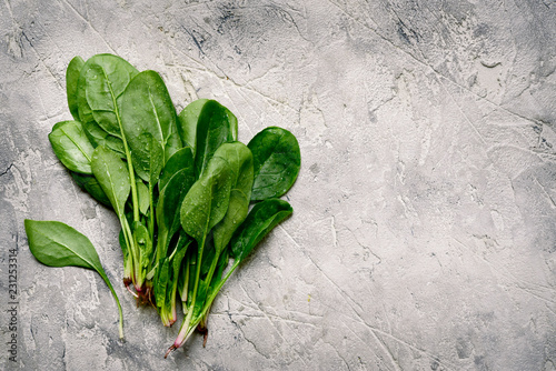Fresh spinach leaves.Top view with copy space.