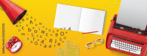Copertina fb con macchina per scrivere e megafono