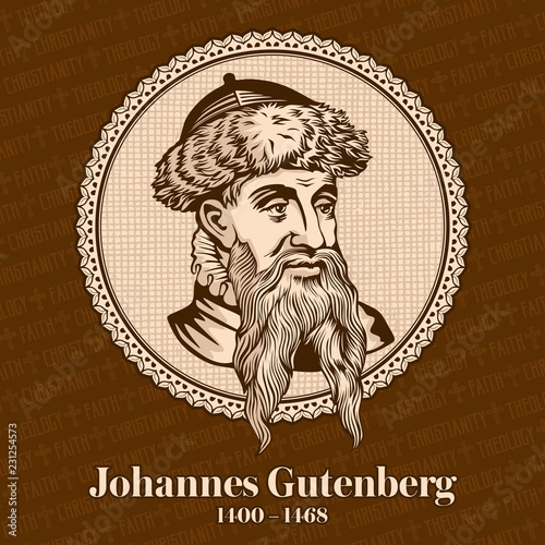 Fotografia Johannes Gutenberg (1400-1468) was a German printer and publisher who introduced printing to Europe with the printing press