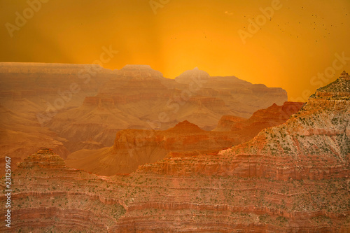 Stickers pour porte Orange eclat Sunset at the Grand Canyon seen from Desert View Point