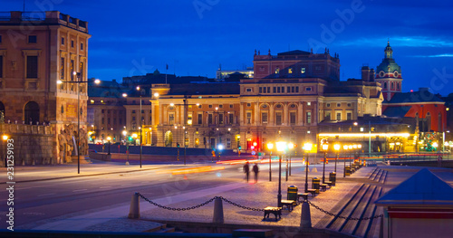 Foto op Canvas Theater Night view of Royal Opera House from Skeppsbron