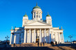 Helsinki Cathedral on a sunset light against a blue sky,