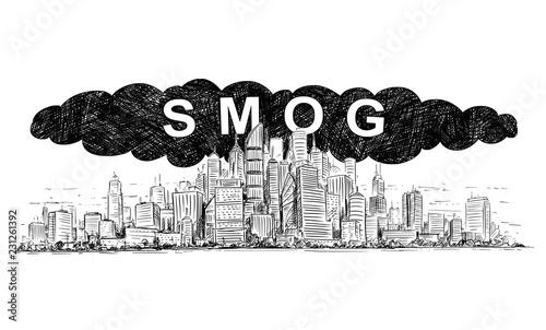 Fotografía Vector artistic pen and ink drawing illustration of high rise building and smog covering the city by air pollution