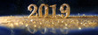 Leinwanddruck Bild - 2019 in sparkling gold numbers celebrating the New Year