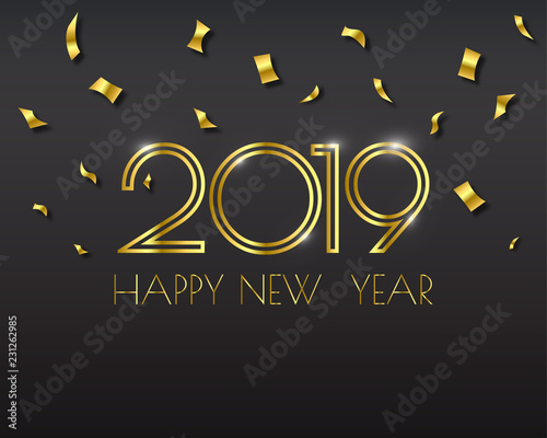 Fototapeta Happy new 2019 year. Greetings card. Colorful design. Vector illustration. obraz na płótnie