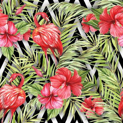 Foto op Canvas Draw Seamless pattern with watercolor flamingo and hibiscus flowers on abstract white black geometric background.