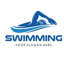 Swimming Logo Design Vector