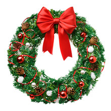 Christmas Wreath, Red Ribbon B...