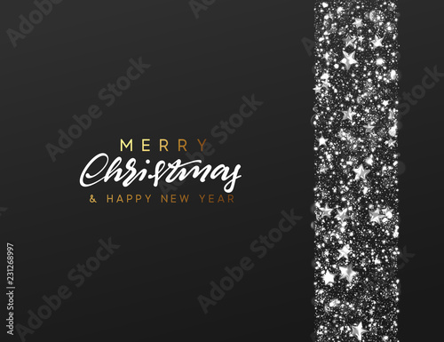 vector happy new year by lauritta christmas background border made of stars and silver sparkle xmas greeting card vector