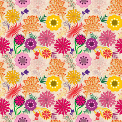 colorful seamless textured and layered floral pattern tile
