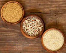 Triple Bowlfuls Of Quinoa, Sesame Seeds And Couscous.