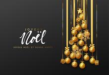 French Text Joyeux Noel. Merry...