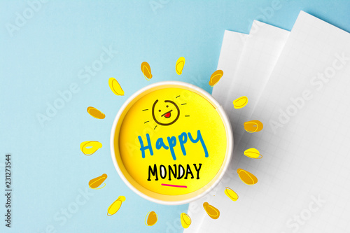Happy monday quote and coffe cup on blue background Fototapete