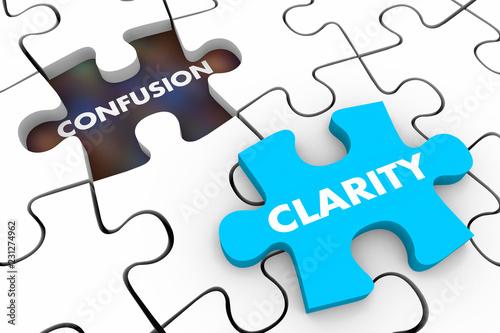 Fényképezés  Clarity Vs Confusion Puzzle Pieces Words 3d Illustration