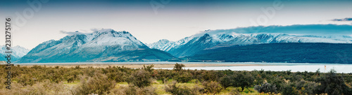 Foto op Aluminium Blauw Sunset on the Summit of Mt. Cook and La Perouse in New Zealand