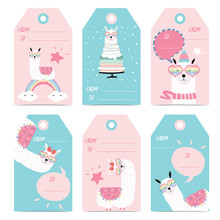 Tag And Label With Head,cake,star,heart Glasses And Bubble