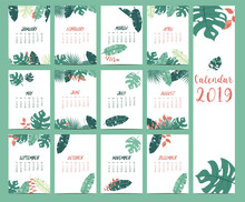 Doodle Calendar Set 2019 With Banana Leaf,hibiscus,palm,tree,coconut Tree For Children.Can Be Used For Printable Graphic