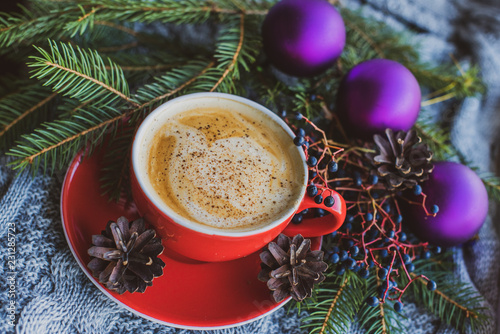 Foto op Plexiglas Chocolade New year cozy composition with hot beverage and nature ingredients. Pretty and nice inspiration for winter time
