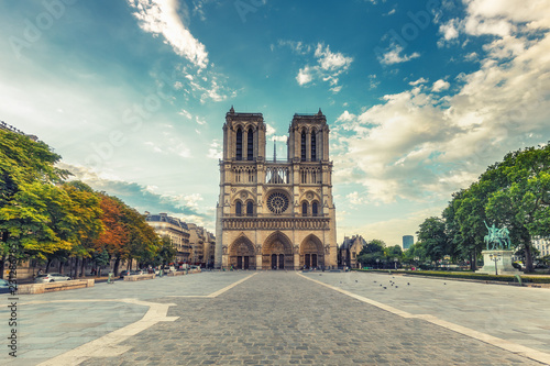 Poster Central Europe Notre Dame cathedral in Paris, France. Scenic travel background.