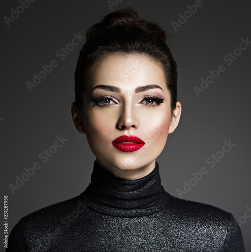 Fotografie, Obraz  Beautiful young fashion woman with red lipstick.