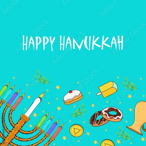 Aluminium Prints Green coral Festival elements decorated background with lettering of Happy Hanukkah for Jewish Holiday celebration.