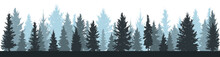 Winter Forest (fir Trees, Spruce) Silhouette On White Background. Vector Illustration.