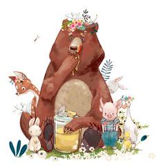 Fototapeta Do pokoju dziecka birthday cute animals - bear and other